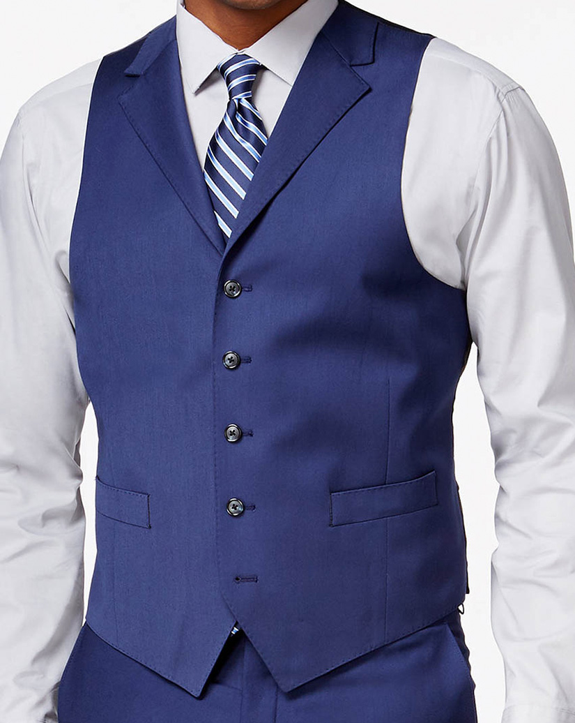 Blue Vest Notch Lapel Damanino Bespoke Suit And Shirt
